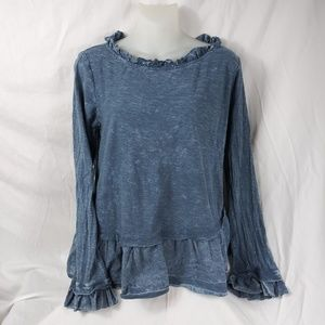 Altar'd State Boho Tiered Ruffle Top cotton L